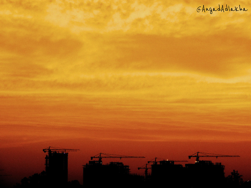 Sunset today. It was just mesmerizing.  Today's Sunset  #Sunset #sky #Gurgaon #Twilight #nature #photography #summer #Orange #Peace #Serenity #Serene #Heaven #Cranes #Construction #Menatwork