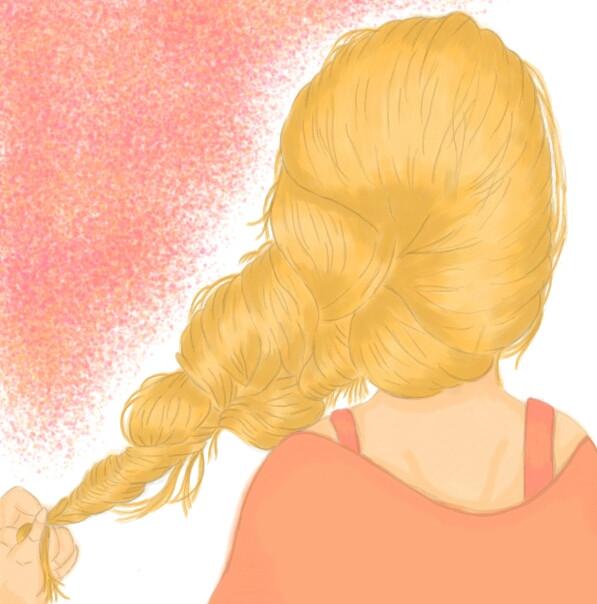 Girl's back #drawing #coloring #girl #hair