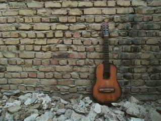guitar music bricks photography