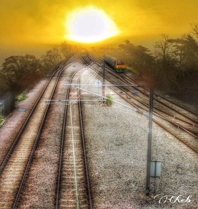 #photoblending #sunset #sunrise #train #traintracks #doubleexposure #overlay