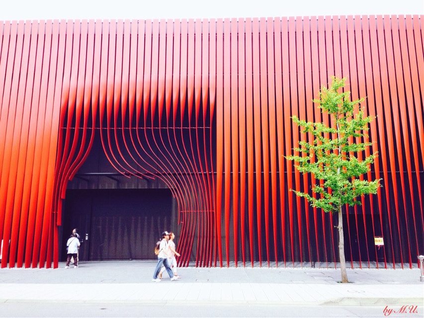 WARASSE, museum of Nebuta festival in Aomori city.  #geometry  #red  #architecture   #Japan  #building  #nebuta  #Aomori  #street  #photography  #MergingLines #stripes #dpcstripes #dpcred #dpcredandgreen