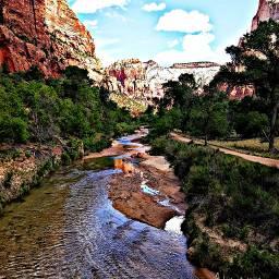 landscape zion zionnationalpark usa nature travel river mountains
