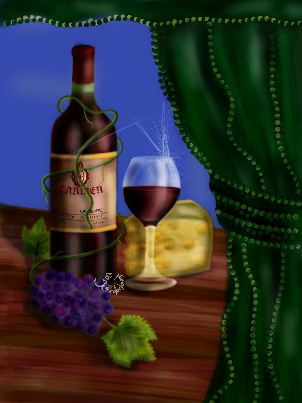 "Wine & co.  Drawn in PA and submitted to the #dcstilllife contest. If you like or repost, thanks! 177-3/464 #drawing #colorful #artistic #art #stilllife  ""The Carménère grape is a wine grape variety originally planted in the Médoc region of Bordeaux, France. A member of the Cabernet family of grapes, the name ""Carménère"" originates from the French word for crimson (carmin) which refers to the brilliant crimson colour of the autumn foliage prior to leaf-fall. Now rarely found in France, the world's largest area planted with this variety is in Chile in South America. In Chile, growers almost inadvertently preserved the grape variety during the last 150 years, due largely to its similarity to Merlot. In 1994, a researcher at Montpellier's school of Oenology found that ""an earlier-ripening vine was Bordeaux Carménère, not Merlot"". The Chilean Department of Agriculture officially recognized Carménère as a distinct variety in 1998."" (Source:  Wikipedia)"