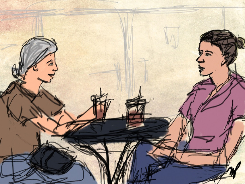 Sketching at Peet's coffee. Two ladies talking about their week, and someone's kid filled the house with smoke when they made rocket fuel in the kitchen. #draw #draweveryday #portrait #dcsketch #sketch