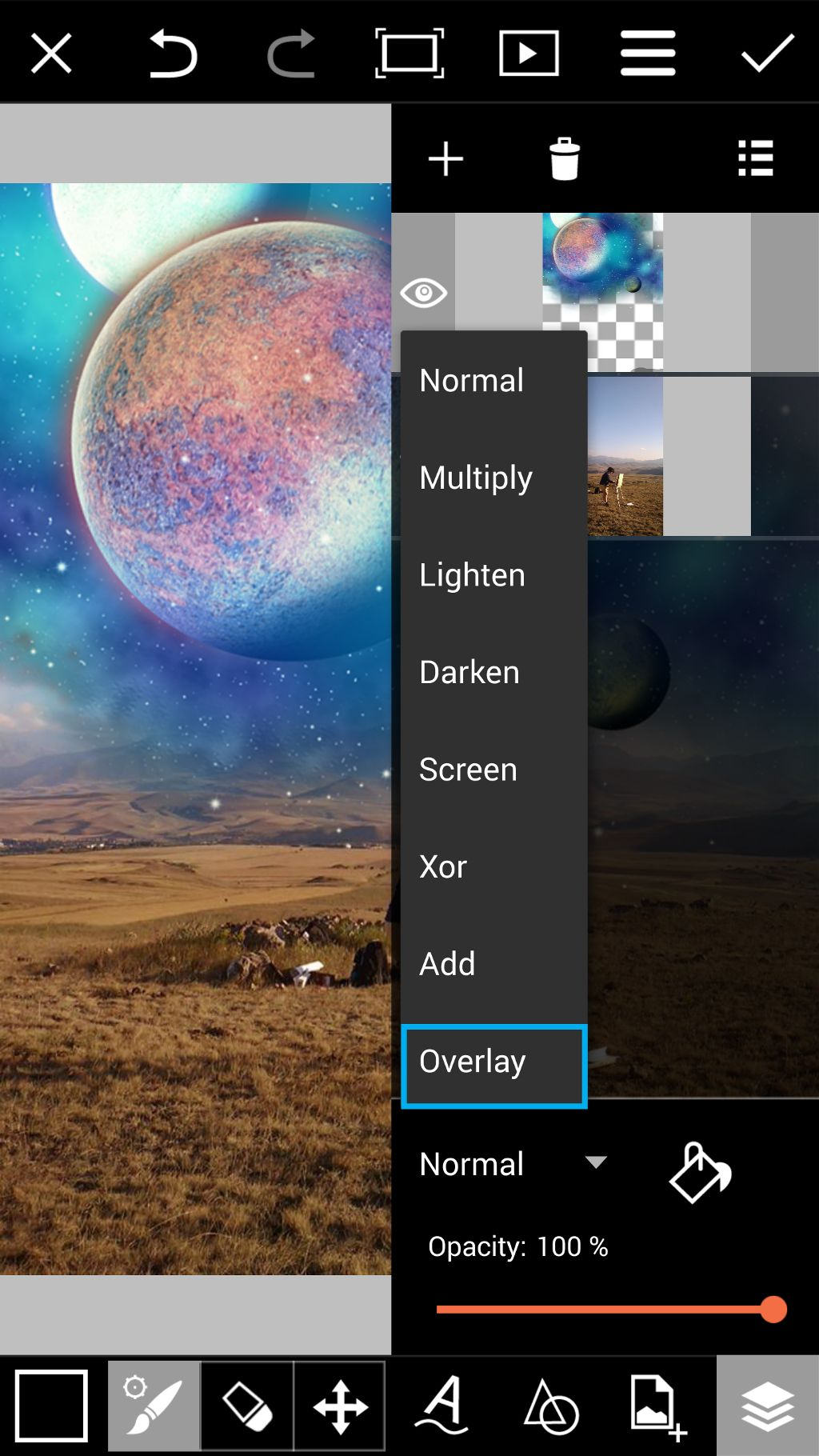 Choose the overlay blending mode