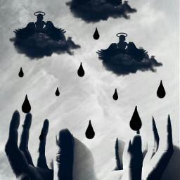 blackandwhite emotions wapdreamscape surrealism clouds hands