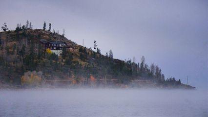 nature photography fog landscape house