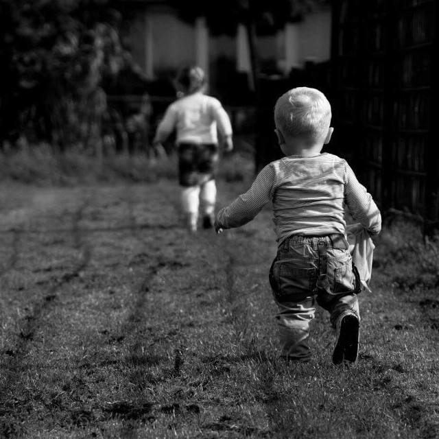 He will follow his sister everywhere #cute #people #photography #blackandwhite #happy